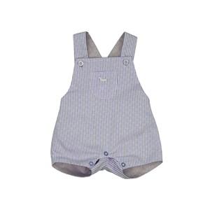 Jardineira Masculina Infantil / Baby Em Xadrez Maquinetado Com Chambray - 1+1 Marinho