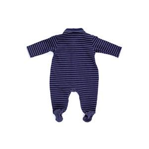 Macacão Baby / Maternidade Em Cotton Com Listrinhas E Malha Com Lycra - 1+1 Marinho
