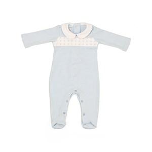 Macacão Baby / Maternidade Modelo Unissex Em Suedine Listrado - 1+1 Azul Claro