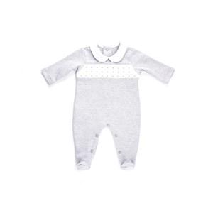 Macacão Baby / Maternidade Modelo Unissex Em Suedine Listrado - 1+1 Cinza Claro