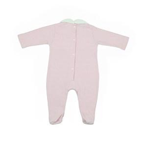 Macacão Baby / Maternidade Modelo Unissex Em Suedine Listrado - 1+1 Rosa Claro