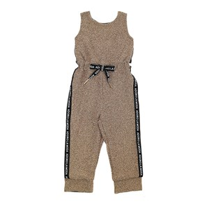 Macacão Infantil / Kids Em Malha Creponada Com Lurex E Cadarço Lateral - Um Mais Um Dourado