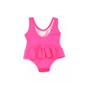 Maiô Infantil / Baby Em Lycra Lisa - Um Mais Um Pink Fluor
