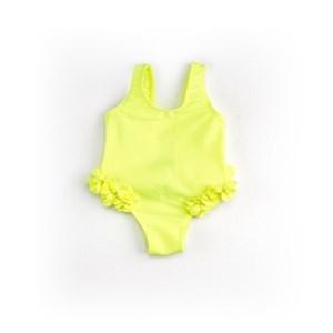 Maiô Infantil / Baby Em Lycra Praia - Um Mais Um Amarelo Fluor