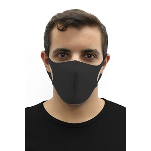 Máscara De Proteção Em Tecido Neoprene Modelo Adulto Masculino - Cores Lisas - Um Mais Um Preto