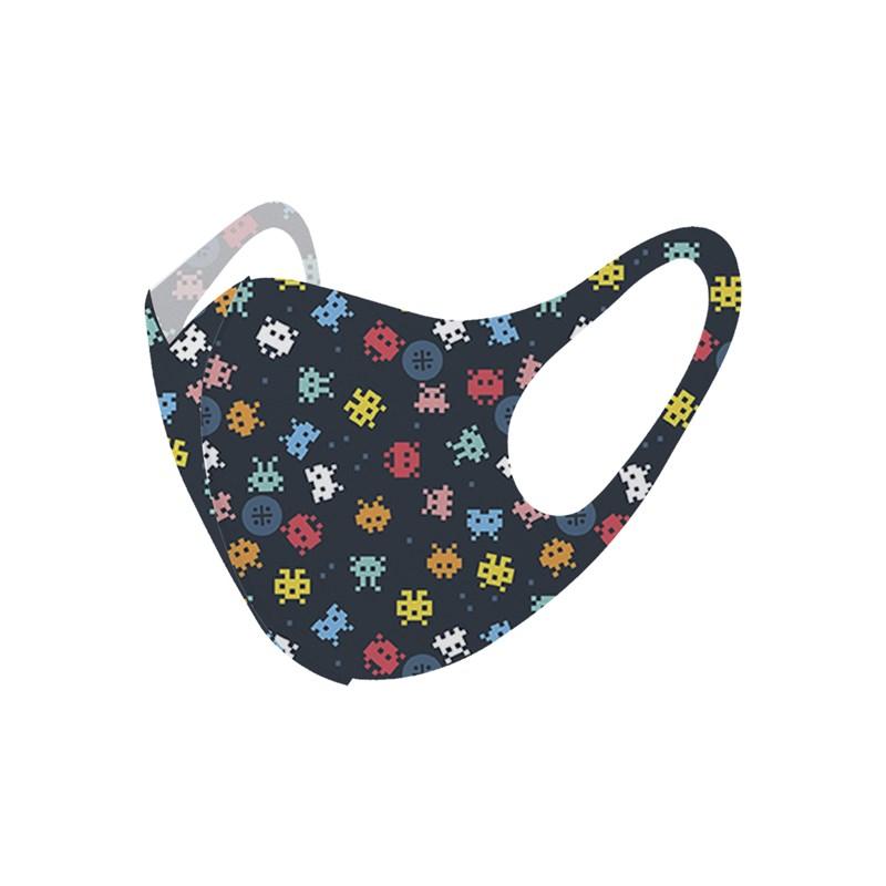 Máscara De Proteção Em Tecido Neoprene Modelo Infantil - Estampas Variadas - Um Mais Um Azul Escuro