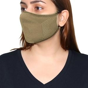 Máscara De Proteção Em Tritôt Com Filtro Duplo De Tnt Modelo Feminino Adulto - Um Mais Um Bege Escuro