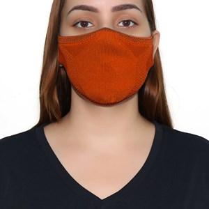 Máscara De Proteção Em Tritôt Com Filtro Duplo De Tnt Modelo Feminino Adulto - Um Mais Um Laranja Neon             Fluor
