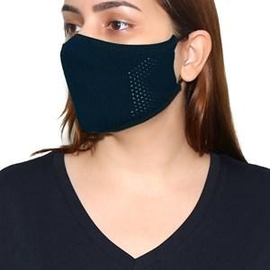 Máscara De Proteção Em Tritôt De Poliamida Com Filtro Duplo De Tnt Modelo Ferminino Adulto Marinho