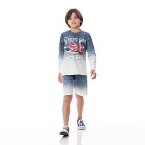 Moletom Infantil / Kids Em Moletinho Com Lycra Estampado - Um Mais Um Azul