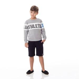 Moletom Infantil / Kids Em Moletinho Viscose Com Lycra Com Estampa Frontal E  Nas Mangas - Um Mais U Mescla Claro