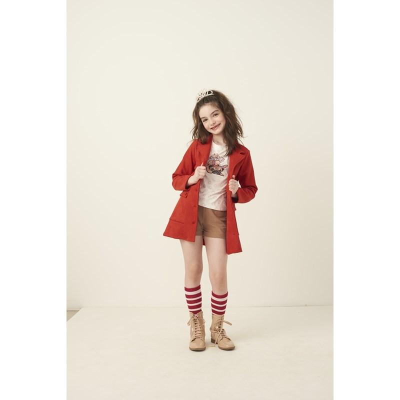 Parka infantil em neoprene com botoes e bolsos laterais Vermelho