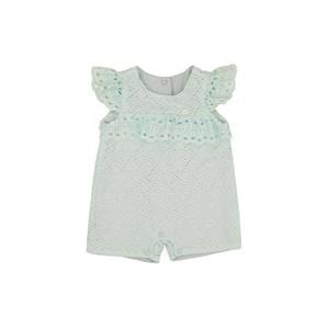 Pimpão Feminino Infantil / Baby Em Lese Com Tricoline Tropical - 1+1 Verde Agua