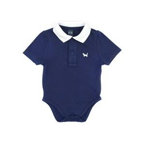 Polo - Body  Infantil / Baby Em Piquet Com Patch De Cahorrinho - Um Mais Um Marinho
