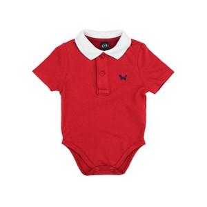 Polo - Body  Infantil / Baby Em Piquet Com Patch De Cahorrinho - Um Mais Um Vermelho
