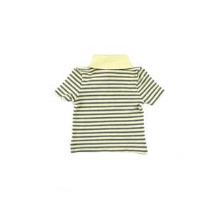 Polo Infantil / Baby Masculina Em Piquet Com Lycra Listrado Fino - 1+1 Amarelo Claro