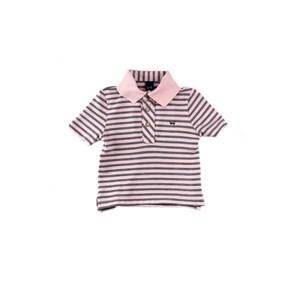 Polo Infantil / Baby Masculina Em Piquet Com Lycra Listrado Fino - 1+1 Rosa Claro