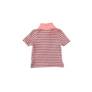 Polo Infantil / Baby Masculina Em Piquet Com Lycra Listrado Fino - 1+1 Salmao