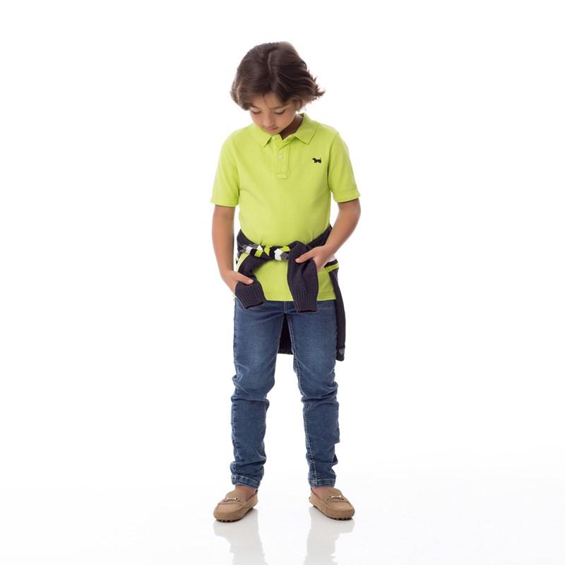 Polo Infantil / Kids Em Piquet Com Bordado De Cachorrinho - Um Mais Um Lima