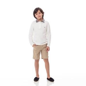 Polo Infantil / Kids Em Piquet Com Gola Em Tricoline Xadrez E Patch De Cachorrinho - Um Mais Um Cru