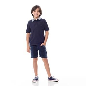Polo Infantil / Kids Em Piquet Com Gola Em Tricoline Xadrez E Patch De Cachorrinho - Um Mais Um Marinho