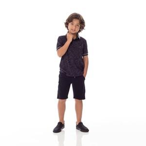 Polo Infantil/Kids Masculino Em Meia Malha Com Flame -Um Mais Um Preto