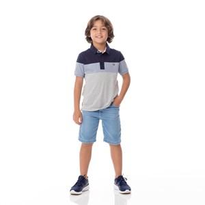 Polo Infantil/Kids Masculino Em Meia Malha Penteada - Um Mais Um Marinho