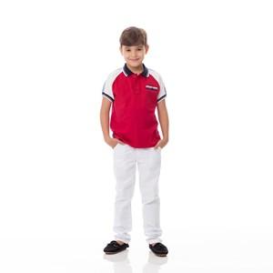 Polo Infantil/Kids Masculino Em Meia Malha Penteada - Um Mais Um Vermelho