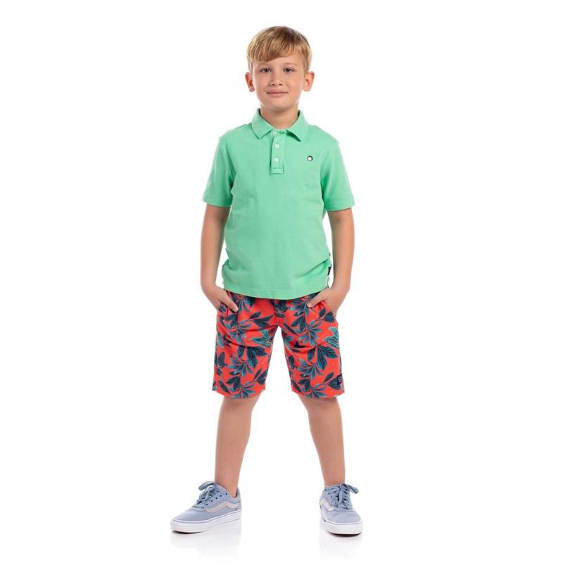 Polo Infantil Masculina Verde Agua