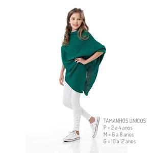 Poncho Infantil / Kids Em Fio De Trico - 1+1 Verde