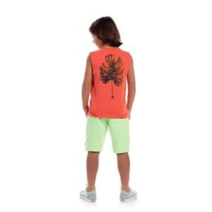 Regata Infantil Masculina Estampa Tropical Coral