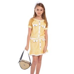 Saia Infantil Em Tela Arrastão Com Babado Amarelo Canario