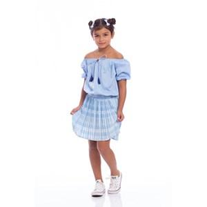 Saia Infantil Em Xadrez Plissado Azul Claro