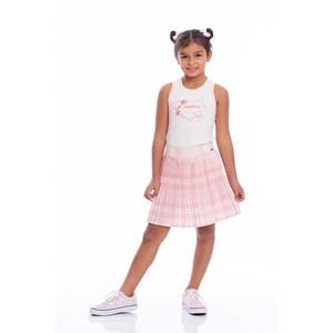 Saia Infantil Em Xadrez Plissado Rosa Claro