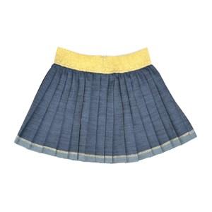 Saia Infantil / Kids Em Jeans Com Lycra Plissada - Um Mais Um Dourado