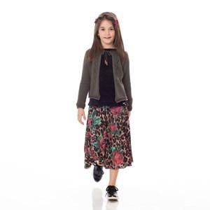 Saia Infantil / Kids Em Sarja Alfaiataria Com Lycra Estampada Plissada - Um Mais Um Onca