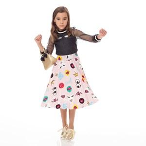 Saia Infantil / Kids Em Sarja Alfaiataria Com Lycra Estampada Plissada - Um Mais Um Rosa Claro