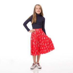 Saia Infantil / Kids Em Sarja Alfaiataria Com Lycra Estampada Plissada - Um Mais Um Vermelho