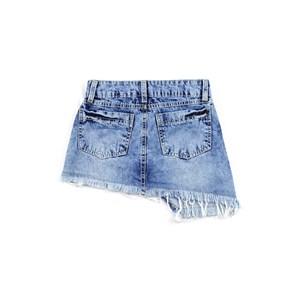 Saia Infantil / Teen Com Recorte Desregular Em Jeans Com Apliques De Tachinhas De Níquel - Twoin Única