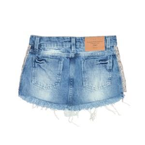 Saia Infantil / Teen Em Jeans Com Detalhe Lateral Em Malha Paete  - Two In Prata