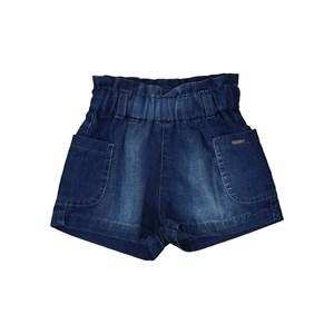 Short De Pregas Jeans Com Cós De Elástico Franzido E Bolso Laterais Única