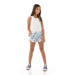 Short Feminino Infantil / Kids Em Crepe Of Com Moletinho Com Lycra - Um Mais Um Azul Claro