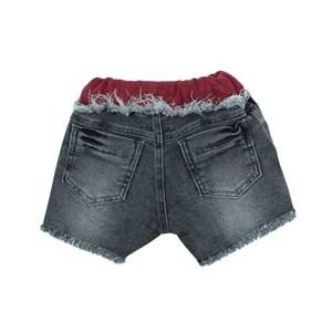 Short Feminino Infantil / Kids Em Jeans Maquinetado Com Malha De Paetê - Um Mais Um Vermelho