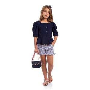 Short Feminino Infantil Litras Verticais Com Cinto Em Cordão Marinho