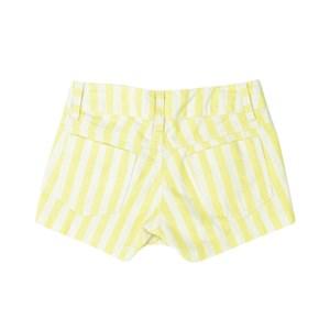 Short Feminino Infantil / Teem Em Listrado Diagonal Off - Twoin Amarelo Canario