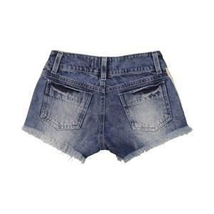 Short Feminino Infantil / Teen Com Cadarço Listrado Em Jeans - Twoin Única