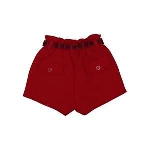 Short infantil feminino cinto e detalhes de cadarço Vermelho