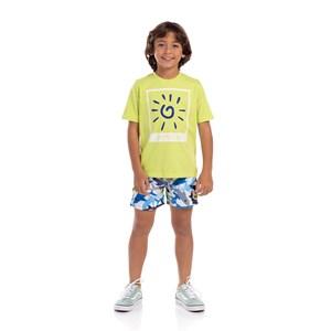 Short Infantil Masculino Estampa Verão Branco