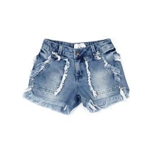 Short Jeans Bolsos E Barra Desfiados Única