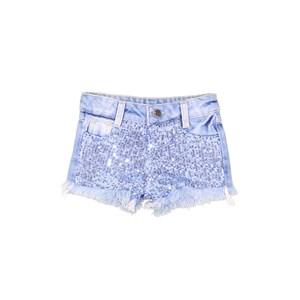 Short Jeans Com Paetê Azul
